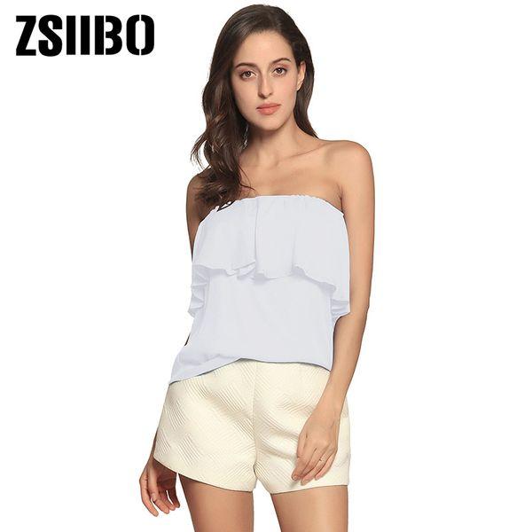 2019 Лето с плеча женская блузка корейского стиля оборками без рукавов шифоновые рубашки сексуальные топы плюс размер женская одежда