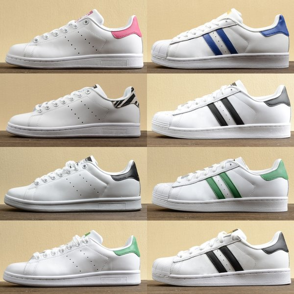 top popular sport shoes Stan Smith Core Black Sneakers White Green White Blue Skateboarding Shoes Stars Flats Mens Womens Designer Shoes 2020