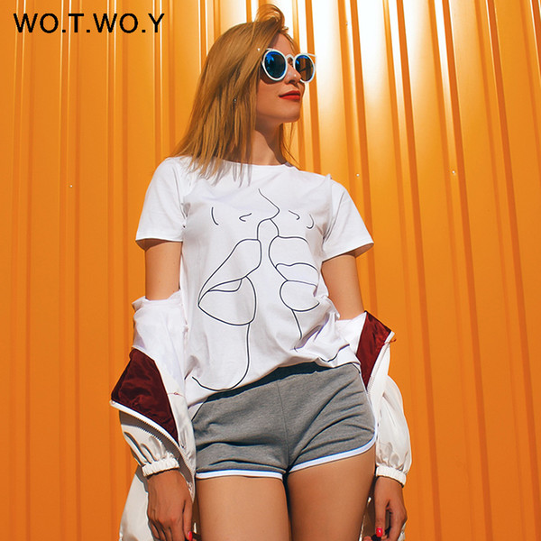 WOTWOY Tumblr Lips T Shirt Summer O-Neck Casual Print Tops Women Cotton Short Sleeve Funny Tshirt Female Harajuku Q190522