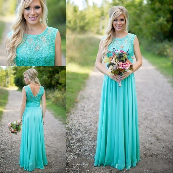 2019 Turquoise Bridesmaid Dresses Scoop Neckline Chiffon Floor Length Lace V Back Long Maid of Honor Dress for Wedding Guest Wear