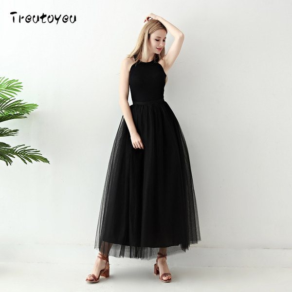 5 Layers Long Tutu Skirts 2018 Summer Fashion Womens Princess Fairy Style Voile Tulle Skirt Bouffant Puffy Fashion Skirt Y19060301