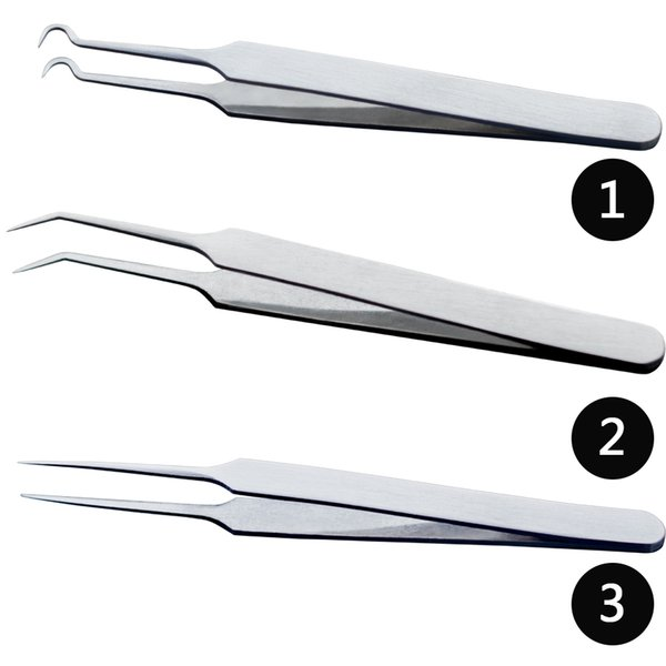 top popular 1PCS Professional Tweezers 3 Designs for Nail Art Face Care Eyelash Extension Blackhead Acne Blemish Pimple Remove Tools CH213 2021