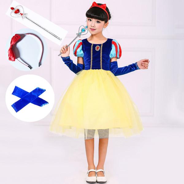 Kinderweihnachtskleidung 2/3/4/5 Stück Short Puffy Sleeve Blue Velvet Tutu Stil amerikanische Prinzessin-Kleid-Mädchen-Kostüm-Set