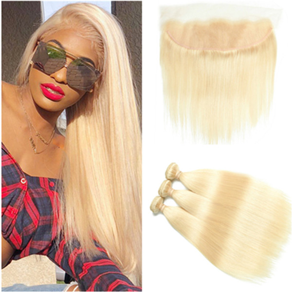 Brazilian Blonde Human Hair Straight 3Bundles with Frontal 4Pcs Lot #613 Bleach Blonde Lace Frontal Closure 13x4 with Weave Bundles