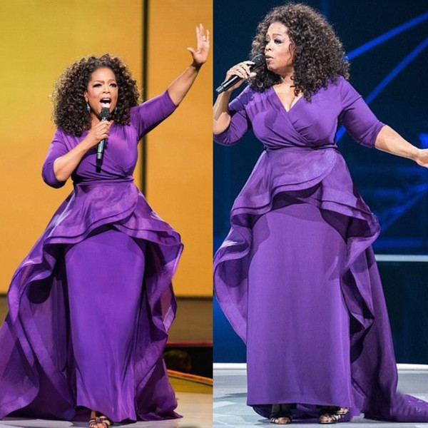 Elegante Oprah Winfrey Celebridade Vestidos de Noite Longo Ruffles Oriente Médio Dubai Estilo Árabe Mangas Roxas Plus Size Vestidos Formal Vestidos de Baile