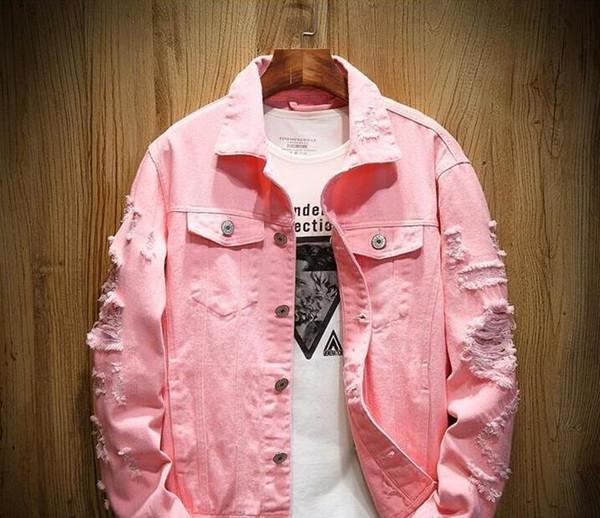 Neue Art und Weise Europa Designer Jeansjacke Herren Ripped Holes Hip-Hop-Mantel Frauen Rosa Jean-Jacken der neuen Marken-Kleid aus gewaschenem Denim Herren Chaqueta