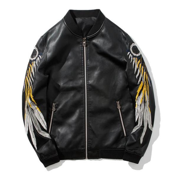 Fashion-Man черный Вышивка PU Куртка Отворот Свободная молния Кардиган движения Свободное время Пуловер моды Trend Свитер Куртка Новый стиль