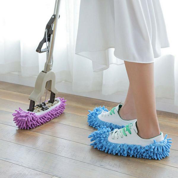 1Pcs Shoes Covers Mop Slipper pigro Casa Piano di lucidatura facile pulizia del piede calzino del pattino di copertura Mopping pigro della copertura del pattino blu viola