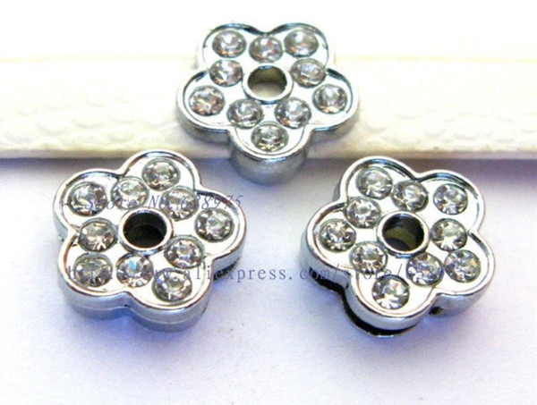 wholesale price 100pcs 8mm full rhinestone Flower Slide Charms Can Fit Pet Dog Cat Tag Collar Wristband