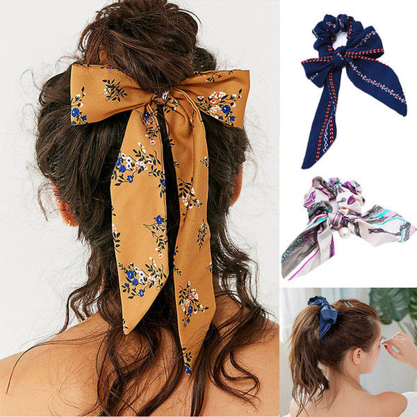 Women Bow Streamers Hair Ring Ribbon Girl Hair Bands Scrunchies Ponytail Tie Solid Headwear Hair Accessories