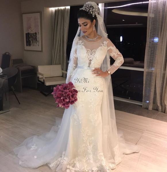 Арабский Дубай Свадебные платья Русалка с длинным рукавом аппликации с длинным рукавом Sweep Поезд Лук Часовня Сад Свадебные платья Vestidos de Novia