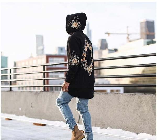 Autumn Men Sweatshirts Hip Hop Long Sleeve Floral printing Hoodies Coat High Street Black White Hoodies
