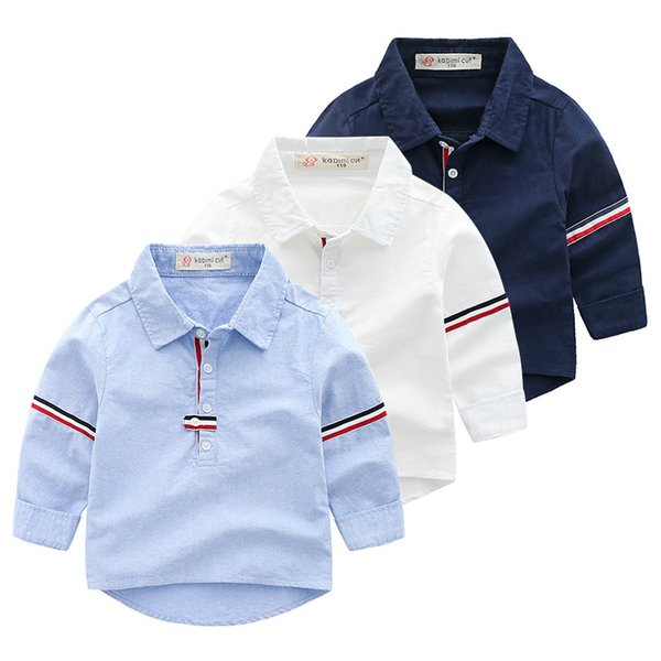 New Childrens Cotton Webbing Striped Long-sleeved Shirt Solid Color Boy Shirt