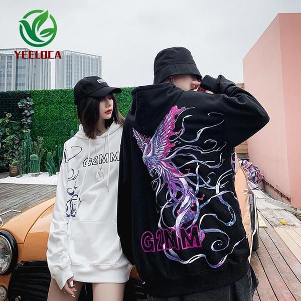 2019 Dropshipping Style Chinois Phoenix Imprimer Hip Hop Homme Femme Automne Hiver Sweat à capuche Fashion Couple coton