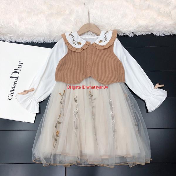 NewGirls yelekler setleri çocuklar tasarımcı giyim yelek + bebek yaka dibe elbise 2 adet mesh hem zarif nakış sonbahar elbise setleri