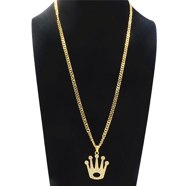 Hueco geométrico Gran Corona Rhinestone Collar Colgante Para Hombres Hip-hop Collar Largo Aleación de Moda Chapado En Oro Accesorios de La Joyería al por mayor