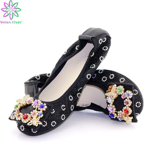 Afrika bayanlar ziyafet dans düz ayakkabı İtalyan tarzı yumuşak alt bayan ayakkabı Siyah renk düz alt bayanlar