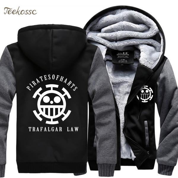 Anime One piece Monkey D Luffy Sweatshirt Men 2018 Spring Winter Men Jacket Fashion Thick Hoodies Coat Mens Hip Hop Skull Hoodie