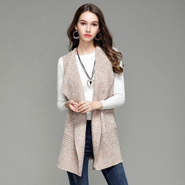 2017 Vest Womens Coat Casual Long Knitted Cardigan Vests Autumn Women Loose Solid Color Design Jacket Female Plus Size Coats