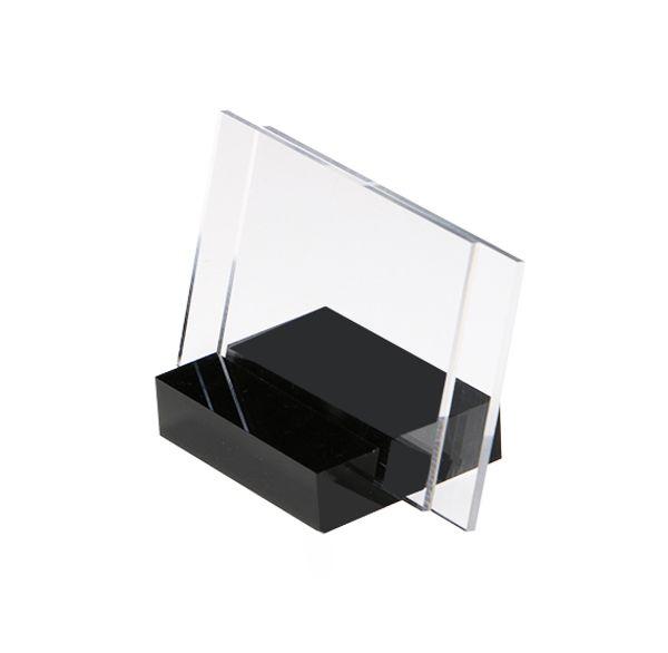 55 * 85mm Mini segno display titolare prezzo etichetta tag etichetta stand vista orizzontale segno visualizzato colore nero base supporto del supporto etichetta