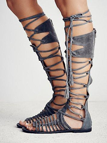 Sexy Summer Roman Gladiator Flat Sandals Boots Bohemia Style Women's Back Zipper Open Toe Knee High Boots Lace Up Cut Out Shoes