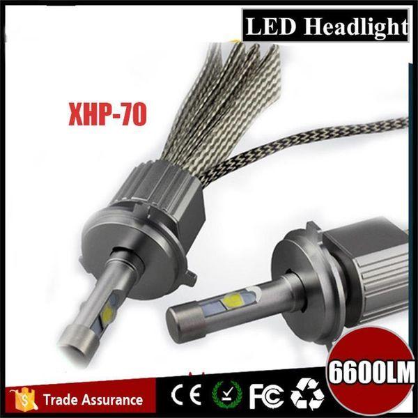 Offre spéciale! 12V-24V H7 ampoules de voiture de conducteur de CEM de kit de phare de la puce LED Cree XHP70 automatique H4 H11 9005 9006 H1 xhp 70 phares menés