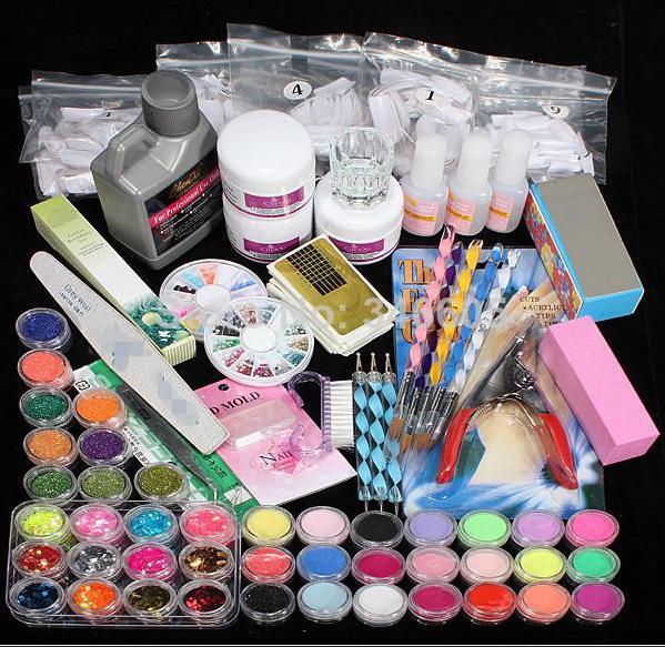 Vente chaude 42x Acrylique Nail Art Conseils Liquide Brosse Glitter Clipper Amorce File Set gel ongles conceptions art fournitures # NP139