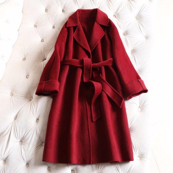 Breif fashion loose double wool coat women winter jacket long 2019 clearance
