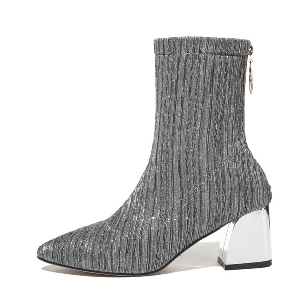 a2eb44d118493 Sexy Women Ankle Boots Party High Heels Silver Ladies Pointed Toe Sock Boots  Casual Low Heels