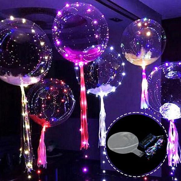 Línea globo bobo LED cadena palillo de la onda de la bola globo se encienden durante la boda del cumpleaños del partido del hogar de Navidad decoración de Halloween DBC VT0519