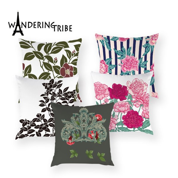 Vintage Floral Throw Pillow Cover Nordic Flower Home Decor Cushion Case Colorful Decorative Outdoor Pillows Bed Cushions Covers