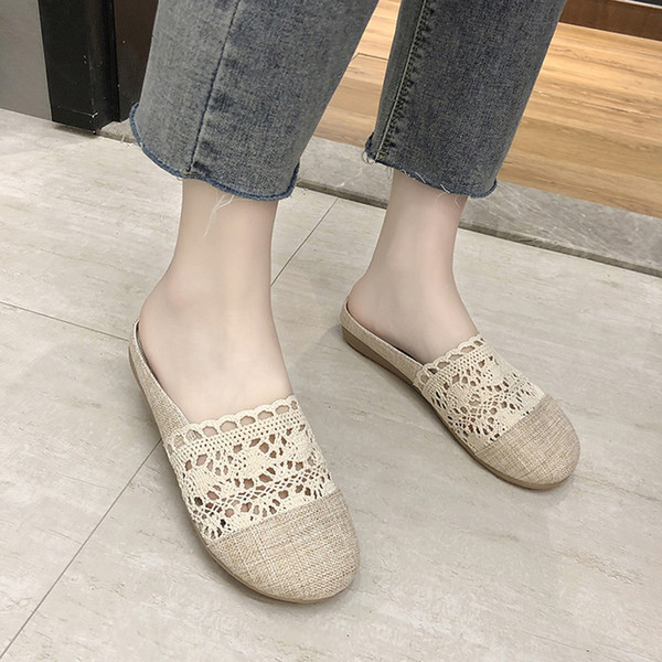 Femmes Slip-on Round Toe Flat Lace Hallow Out Classic Lady Confort Slipper Chaussures