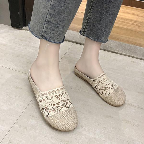 Женщины скольжения на круглый носок плоские кружева освятить классический Леди комфорт тапочки обувь