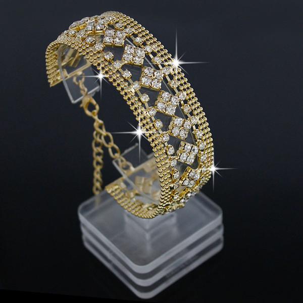 Diseño Cuadrado nueva manera de la pulsera del diamante de lujo Flores Muchos Fila CZdiamond pulseras de plata / joyería de las mujeres de color oro para la boda del partido