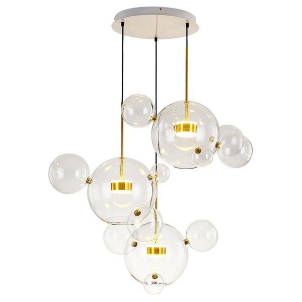 JESS Modern Mickey Balls Led Pendant Chandelier Lights Glass Dining Room Led Chandeliers Lighting Living Room Hanging Lamp Fixtures