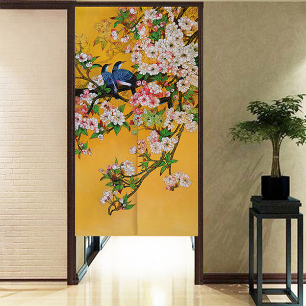 top popular Chinese Ink Style Flower and Bird Pattern Door Curtain Japanese Noren Half Curtain 2021