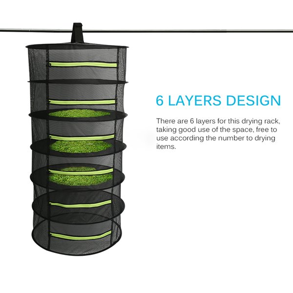 Hanging Basket 4/6 strati con cerniera pieghevole secco stendino Net Dryer Mesh Bag per le erbe Fiori Buds Piante Rack a secco