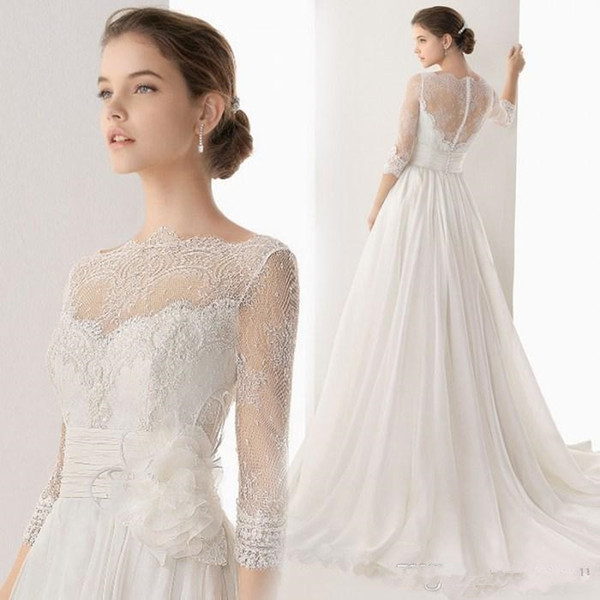 Modest Simple Wedding Dresses For Bride V-Neck Floor Length Applique Chiffon Backless Country Beach Bridal Gowns
