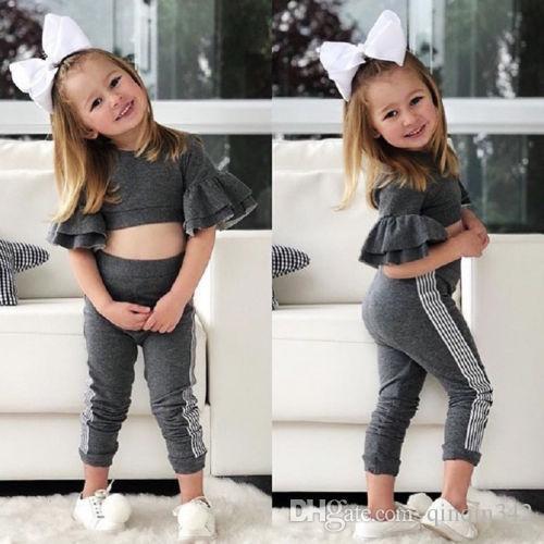2019 Primavera / Otoño otoño Niños Bebés diseñador Slim Fit Tops Pantalones Leggings Trajes Ropa Conjunto