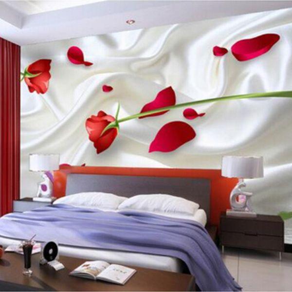 Romântico Rosa 3D De Seda Papel De Parede Moderna Simples Decoração de Casa de Decoração de Casa de Cabeceira Do Casamento Não-Tecido Mural De Papel De Parede Floral
