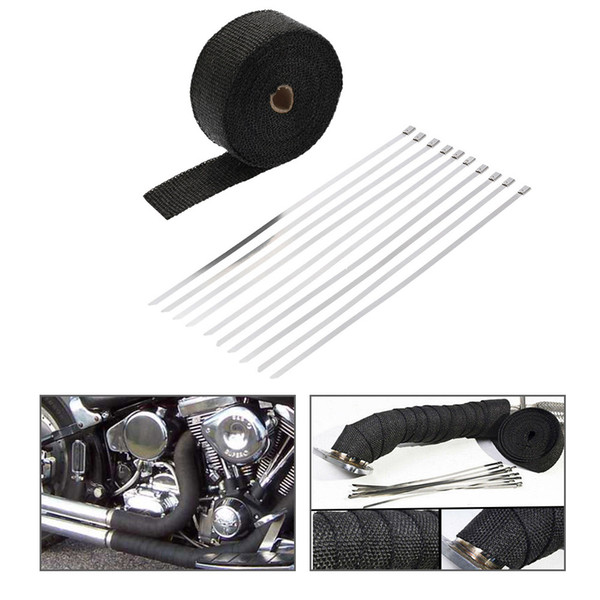 Freeshipping 10m*5cm*1.5mm Exhaust Pipe Manifold Header Heat Wrap Resistant Downpipe 10 Stainless Steel Ties motorcycle exhaust accessories