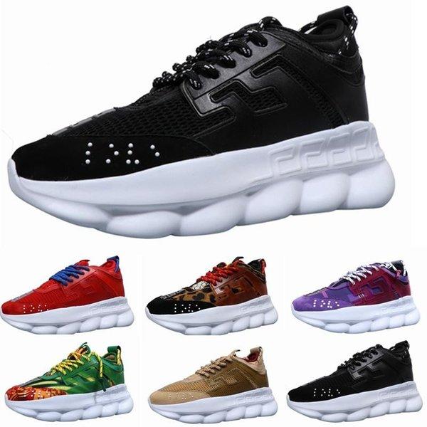 Nouveau luxe chaîne réaction marque marque designer chaussures formateurs occasionnels chaussures ace léger en caoutchouc chaîné chaîne designer sneakers taille 35-45