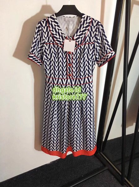 Women Brand Crepe Couture Dress With Letter Print Girls Short Sleeve T-Shirt Dress Tee Knee-Length Casual Female Runway Dress