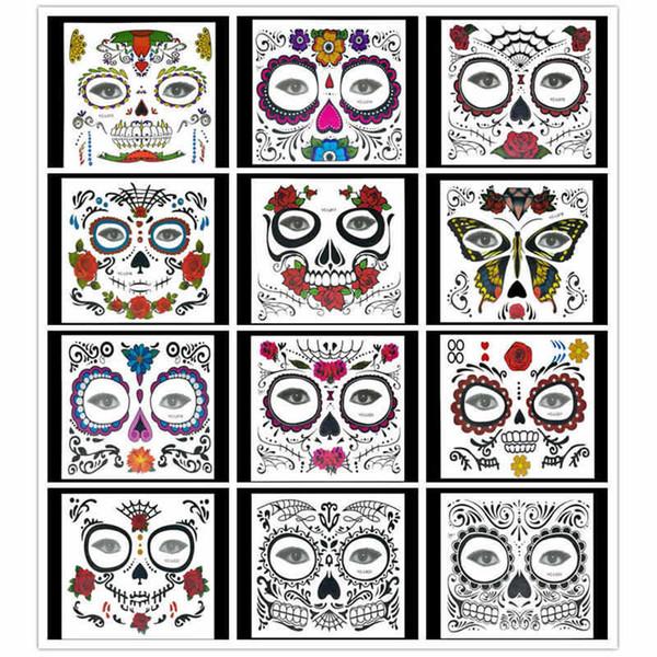 New Halloween Temporary Tattoos Weihnachtsfest Tattoo Sticker Maskerade Ball Gesicht Aufkleber Body Art 12 Stile