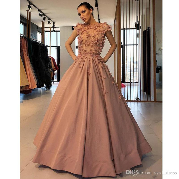 Designer Plus Size Prom Dresses 2019 Short Sleeve Flower Ruffles Party Gowns For Sweet 16 robe de mariée evening dresses