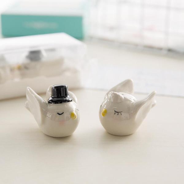 New 100pcs=50sets/LOT Bride Groom Angel Love Birds Salt and Pepper Shaker Wedding Favors and Gits for Guest LX6400