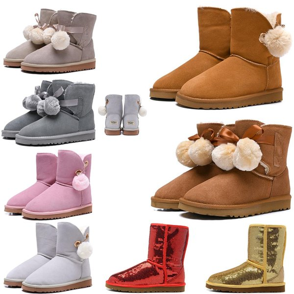 Cheap Australia Women Boots Classic Snow Boots tall Bailey Bowknot girl winter top quality Keep warm des chaussures size 36-41