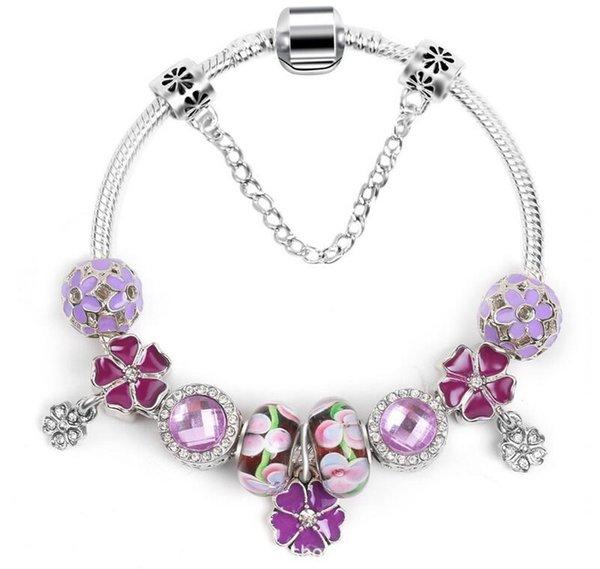 2019 nuevo encanto europeo del grano del anillo de la corona colgante pulsera de bricolaje para Pandora estilo Pink Ladies pulsera pulsera DHL envío gratis