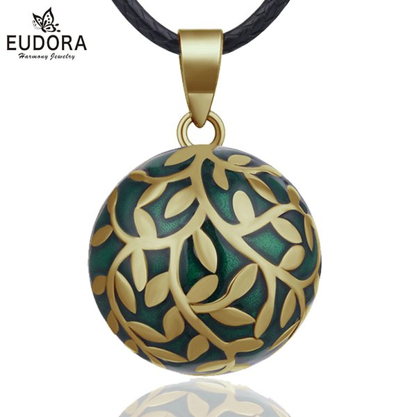 wholesale 20mm olive leaf Mexican Bola Harmony Chime Ball Angel Caller Pregnancy Pendant Necklace for Women Fine Jewelry N14NB318-1