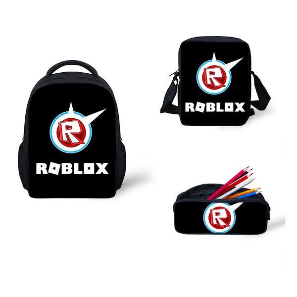 Cute Roblox toys figure School Bags 3 pcs/Set Cartoon School Backpack for Girls Boys Kids Bags rugzak mini backpack female
